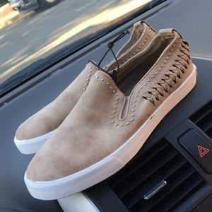 Guess Shoes - Guess Beige Suede Slip on Sneakers